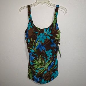 White Stag One Piece Swimsuit Tropical Floral 2X